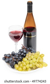 A bottle of wine, glass and grapes on a white background - still life