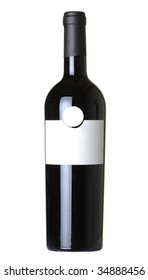 Bottle of wine isolated on 100% white background