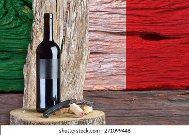 bottle of wine with the Italian flag in the background