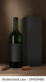 Bottle of wine, wine packaging box, wine cork and corkscrew