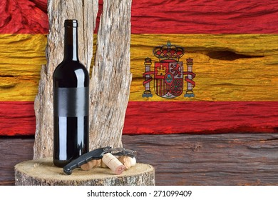 bottle of wine with of Spain flag in the background