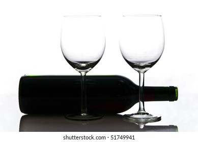bottle of wine and wineglasses