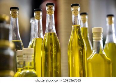 bottled olive oil on the farm