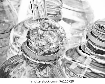 Bottled Water streams and bubbles from the spout