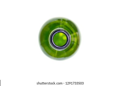 Bottleneck, macro, close up. Neck of empty used bottle of wine or beer. Isolated for design.