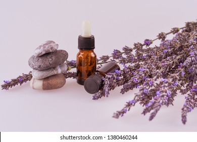 Bottles with aroma oil and lavender flowers and stack of stones on white background. Lavender oil. Essential oil, natural face and body beauty remedies