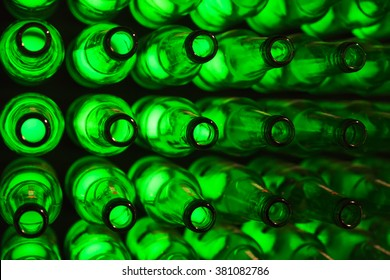 bottles as background green beer texture