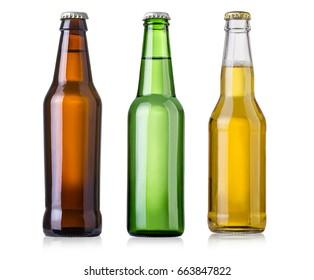 bottles of beer on white background