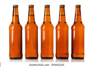 Bottles of beer over white background