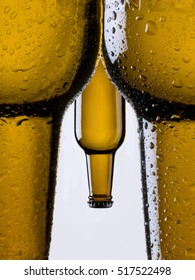 Bottles of beer, simulating a naked man seen from behind