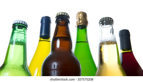 bottles of beer and wine