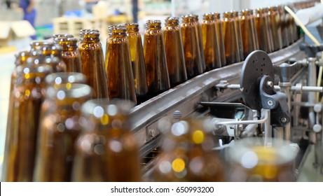 Bottles in beverage production line