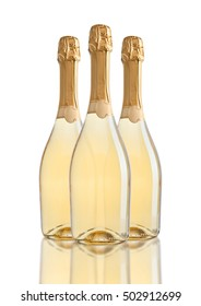 Bottles of champagne golden yellow color on white background