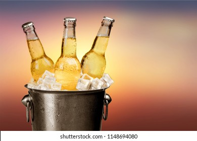 Bottles of cold and fresh beer