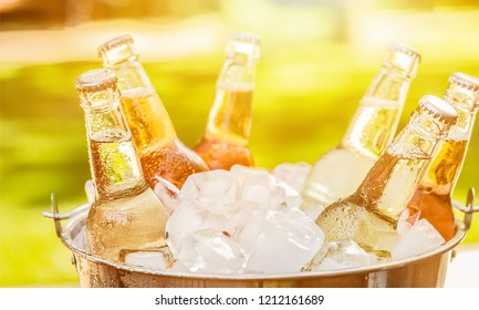 Bottles of cold and fresh beer with ice isolated