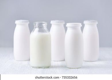 bottles of drink yogurt, homemade and traditional