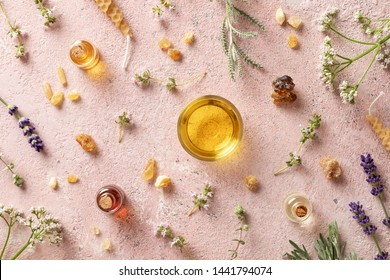 Bottles of essential oil with frankincense, valerian, lavender and other herbs on a pink background