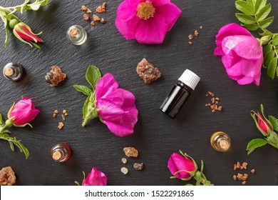 Bottles of essential oil with myrrh, frankincense and Rugosa rose flowers on a dark background, top view