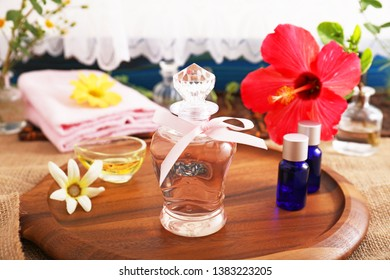 Bottles of essential oil on the table.