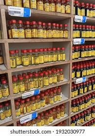 Bottles of flavor and essences at a superstore shelves    - Karachi Pakistan - Mar 2021