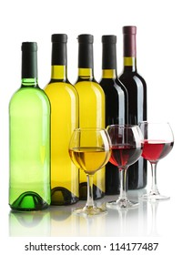bottles and glasses of wine isolated on white