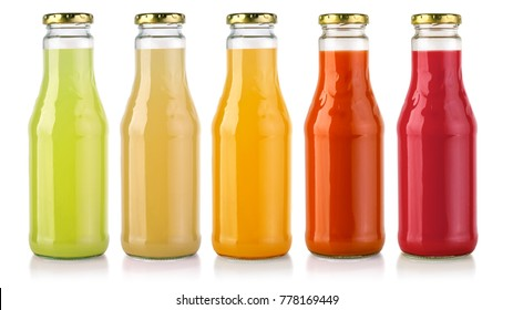 Bottles of  juice isolated on white background