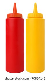 Bottles of Ketchup and Mustard. Isolated on White