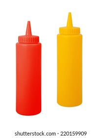 bottles of mustard and ketchup