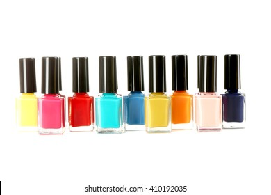 Bottles of nail polish isolated on a white