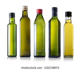Bottles of oil isolated on a white background