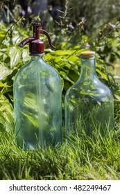 Bottles on the grass