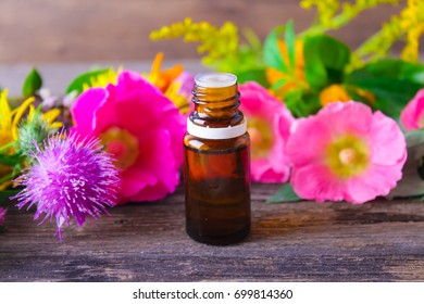 Bottles with organic essential aroma oil with healing herbs on aged wooden background.Fresh medicinal