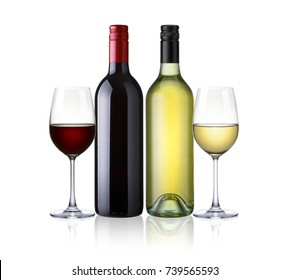 bottles of red and white wine and glasses wine isolated on white background with clip path