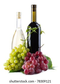 Bottles of red and white wine with grapes, white background