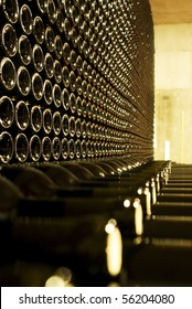 Bottles of red wine wine in the cellar of a wine estate.