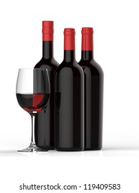 Bottles of red wine with glass on white background.