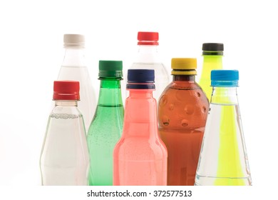 Bottles with soft drink onwhite background
