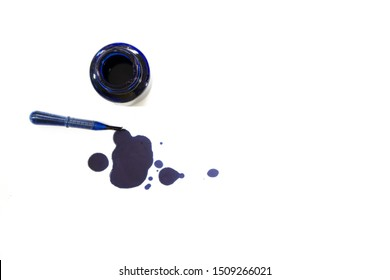 bottles and straws, Blue ink pen and ink lining on a white background. Ink spot. Blue ink silhouette.