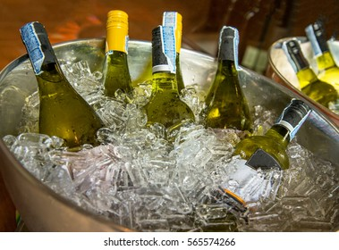 Bottles of white wine on ice bucket at a party.