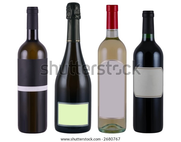 Bottles of wine with blank label