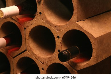 Bottles of wine in a cellar of a restaurant.