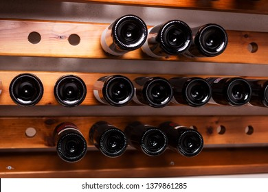 Bottles of wine on the shelves of an alcohol shop in Spain, Alicante. Background