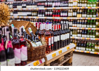 Bottles of wine and other alcohols in supermarke