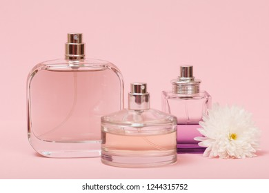 Bottles with women perfume and flower bud in a pink background. Women products.