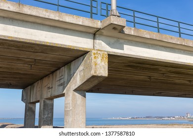 Bottom of concrete bridge with columns near Lelystad, The Netherlands