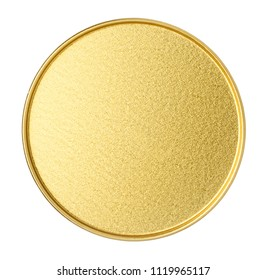 Bottom of golden metal jar isolated on white background