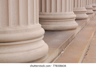 Bottom of large columns and steps diagonal base view