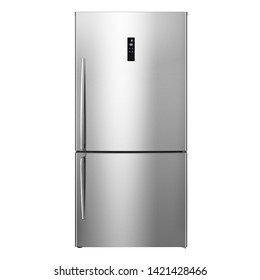 Bottom Mount Refrigerator Isolated on White. Modern Kitchen Domestic Major Appliances. Stainless Steel Side by Side Double Door Full Frost Free Fridge Freezer Side View. Household Electrical Equipment