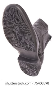 Bottom of shoe. Sole as a fingerprint. Isolated on white. Clipping path included.