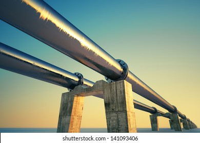 Bottom shot of a pipeline at sunset. Pipeline transportation is most common way of transporting goods such as Oil, natural gas or water on long distances.